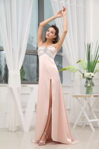 Beaded Pink Cute Graduation Dresses with High Slit and Brush Train