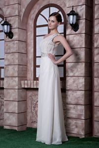 White One Shoulder Chiffon Cute Graduation Dresses with Beading