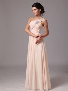 Beaded One Shoulder Middle School Graduation Dress in Champagne