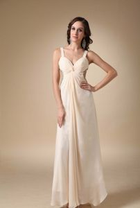 Champagne Floor-length Graduation Dresses with Ruches in Chiffon