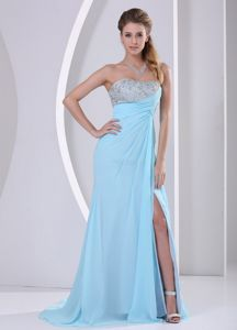 Beaded Aqua Blue Middle School Graduation Dresses with High Slit