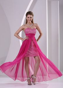 High-low Sequined Hot Pink Senior Graduation Dresses in Sweetheart