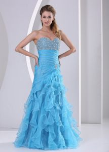 Ruffled Baby Blue Sweetheart Cheap Graduation Dress with Beading