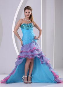 Muti-color High-low Mermaid Formal Graduation Dress with Beading