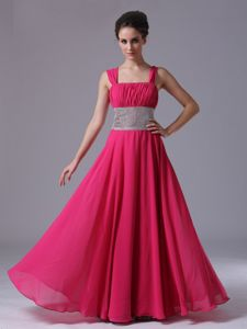 Beaded Straps Graduation Dresses For Girls with Ruches in Hot Pink