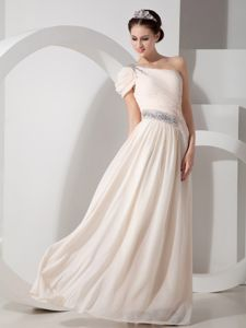 Champagne One Shoulder Chiffon Graduation Dresses with Beading