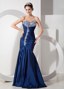 Navy Blue Mermaid Cute Graduation Dress with Ruches and Beading