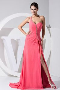 One Shoulder Beaded Grad Dresses in Watermelon Red with High Slit