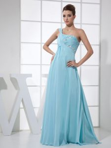 One Shoulder Ruched Graduation Dresses with Beading in Light Blue