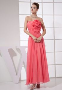 Hand Flowery Ankle-length Graduation Dresses in Watermelon Red