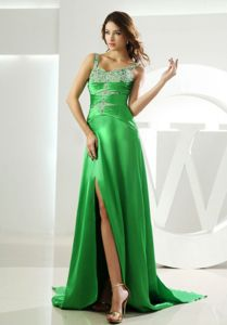 Watteau High Slit Spring Green Beaded Graduation Dress with Straps