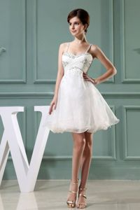 Lovely White Beaded Short Graduation Dresses For Girls with Straps