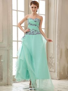 Asymmetrical Apple Green College Graduation Dress with Appliques