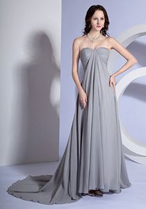 Elegant Zipper-up Grey Ruched Brush Evening Dress For Graduation