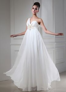 Elegant White One Shoulder Long Graduation Dresses with Appliques