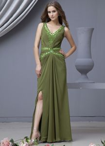 V-neck High Slit Olive Green Beaded Graduation Ceremony Dresses