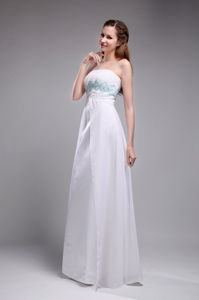 Gorgeous Strapless White Ruched Long Grad Dress with Embroidery