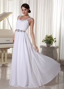 Unique White Ruched Long College Grad Dresses with Beaded Waist
