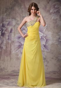 Yellow Beaded One Shoulder Ruched Long Senior Graduation Dress