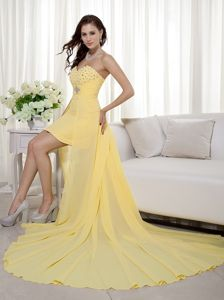 Yellow High-low Zipper-up Beaded Graduation Dresses For Grade 8