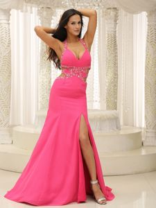 Sexy Hot Pink Halter High Slit Beaded 8th Grade Graduation Dresses