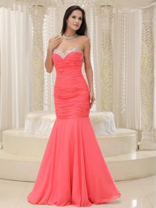 Mermaid Sweetheart Coral Red Long Graduation Dress For Grade 8