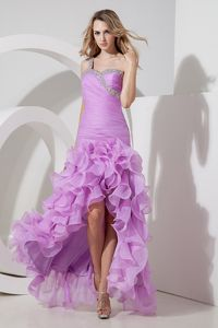 One Shoulder High-low Beaded Graduation Dress with Ruffled Layers