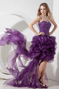 Unique High-low Ruffled Purple Graduation Dress for Girls with Bead