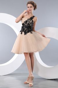 One Shoulder Champagne College Graduation Dress with Appliques
