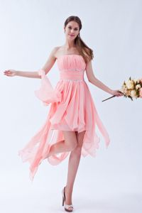 Asymmetrical Strapless Ruched Beaded Prom Dress for Graduation