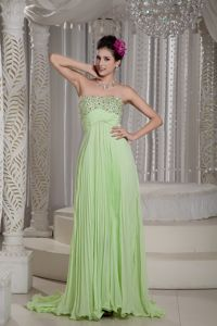 Pleat and Beads Strapless College Graduation Dress in Yellow Green