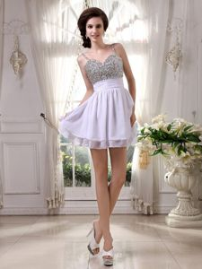 Sweet Spaghetti Straps Beading Lilac Eighth Grade Graduation Dress