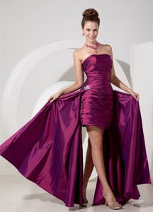 New High-low Ruched Fuchsia Graduation Dresses for 8th Grade