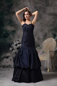 Halter Top Lace-up Black A-line Graduation Dresses for College