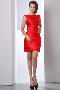 Classical Bateau Neck Beaded Red Mini Graduation Dresses 2014