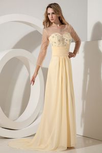Light Yellow Long Graduation Dress with Sheer Neck and Sleeves