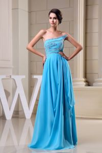 Baby Blue Beaded Strapless Graduation Ceremony Dress in Chiffon