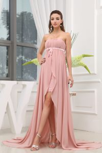 Ruched High-low Strapless Cute Graduation Dress with Brush Train