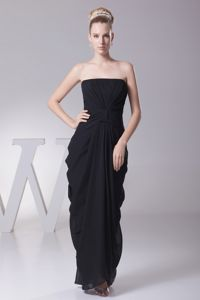 Black Strapless Graduation Dresses For High School with Ruches