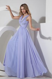 V-neck Floor-length Chiffon Lilac Graduation Dresses with Beading