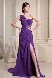 One Shoulder Purple Middle School Graduation Dress with Beading