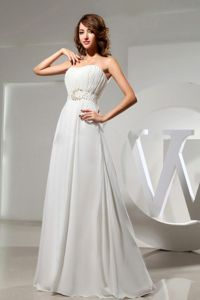 Strapless White Cute Graduation Dresses with Beading and Ruches
