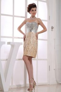 Sequined Sweetheart Short Taffeta Cute Graduation Dresses in Gold