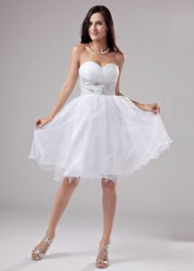 Beaded Knee-length Organza Sweetheart Prom Dress For Graduation