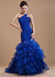 Mermaid One Shoulder Graduation Dress with Ruffles in Royal Blue