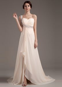 Beaded One Shoulder Champagne Grad Dresses with Brush Train
