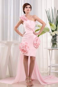 High-low One Shoulder Baby Pink Grad Dresses with Hand Flowers