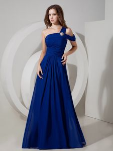 Peacock Blue One Shoulder Chiffon Graduation Dress with Ruches