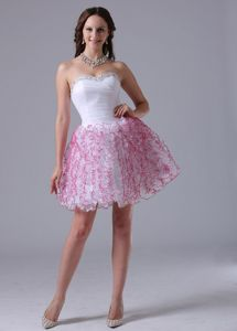 Ruffled Sweetheart Cute Graduation Dress with Ruches and Beading