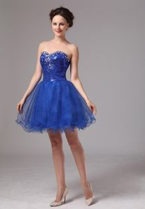 Royal Blue Beaded Mini-length Graduation Dresses For High School